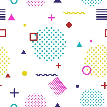 Abstract geometric seamless pattern in Memphis style on white background. Fashion 80s-90s trends designs, Retro funky graphic with geometric shapes. Applicable for Banners, Posters, Flyers. Vector