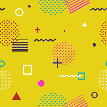Abstract geometric seamless pattern in Memphis style on yellow background. Fashion 80s-90s trends designs, Retro funky graphic with geometric shapes. Applicable for Banners, Posters, Flyers. Vector Ilustracja