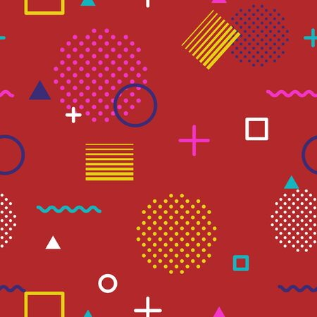 Abstract geometric seamless pattern in Memphis style on red background. Fashion 80s-90s trends designs, Retro funky graphic with geometric shapes. Applicable for Banners, Posters, Flyers. Vector Ilustracja