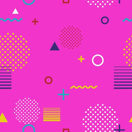Abstract geometric seamless pattern in Memphis style on pink background. Fashion 80s-90s trends designs, Retro funky graphic with geometric shapes. Applicable for Banners, Posters, Flyers. Vector Zdjęcie Seryjne - 137411933