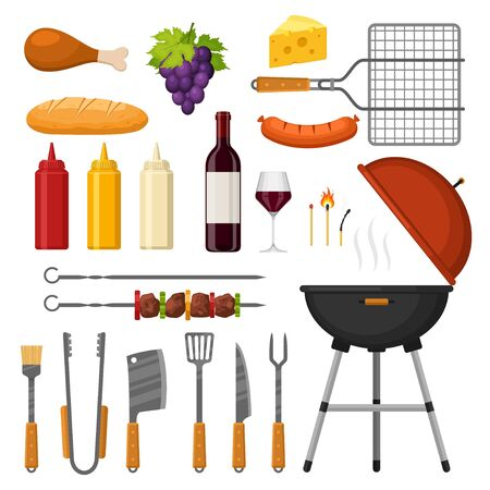 Different special tools and food for barbecue party. Set of BBQ sausage, wine, loaf, sauces isolated on white. Meat home dinner products skewer grilling kitchen equipment vector illustration