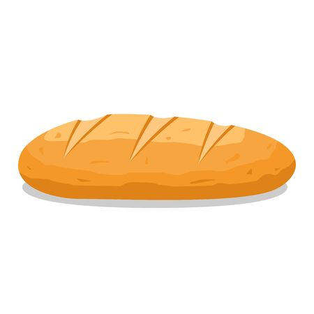 Loaf bread icon flat isolated on white background, French baguette. Whole grain healthy bread. Vector illustration