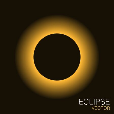 Total eclipse of the sun with yellow light rays in the dark sky. Solar eclipse vector illustration