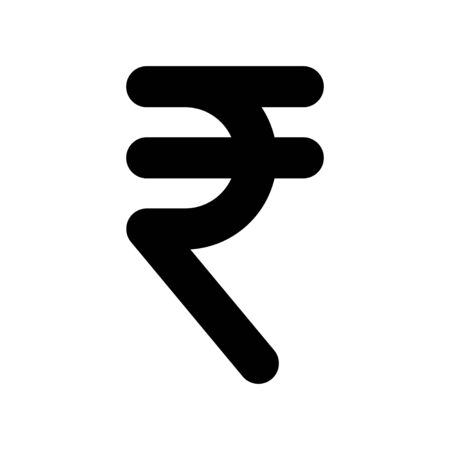 Indian Rupee currency symbol, INR money icon isolated on white background. Vector illustration