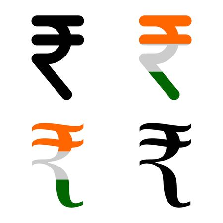 Indian Rupee currency symbol set, INR money icon isolated on white background. Vector illustration