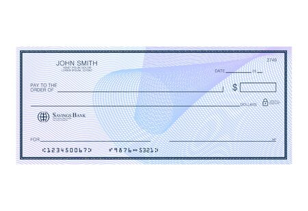 Blank bank cheque with abstract watermark. Personal desk check template with empty field to fill. Banknote, money design,currency, bank note, voucher, gift certificate, money coupon vector