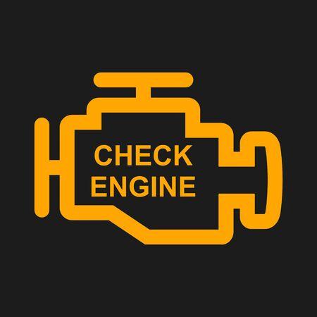 Überprüfen Sie das Warnschild des Motors, das in schwarzem Hintergrund isoliert ist. Motorreparatur-Vektorillustration