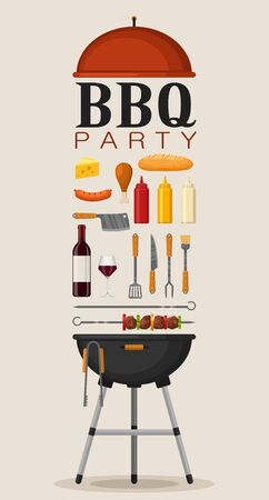 Bbq party poster invitation with grill and food. Barbecue grill elements set. Meat restaurant at home. Charcoal kettle with tool, sauce and foods. Kitchen equipment for menu. Cooking outdoors vector