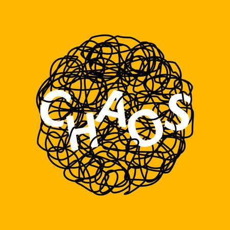 Abstract hand drawn illustration of chaos over tangled mess scribble or doodle on yellow background. Metaphor of problem, difficult situation, chaos and mess. Vector illustration Ilustracja