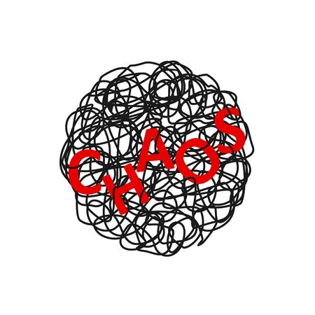 Abstract hand drawn illustration of chaos over tangled mess scribble or doodle on white background. Metaphor of problem, difficult situation, chaos and mess. Vector illustration