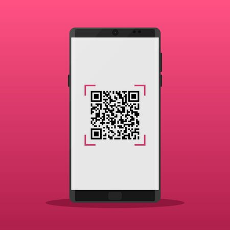 Scan QR code to Mobile Phone. QR Codes decoding with a smartphone. Electronic, digital technology, barcode. Vector illustration. 일러스트