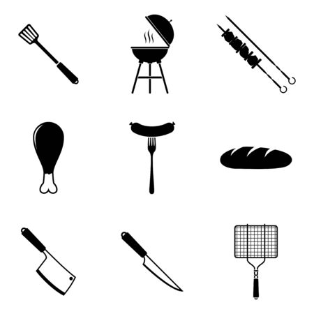 Black barbecue icons set isolated on white background. Grill BBQ Meat home dinner products skewer grilling kitchen equipment vector illustration Ilustrace