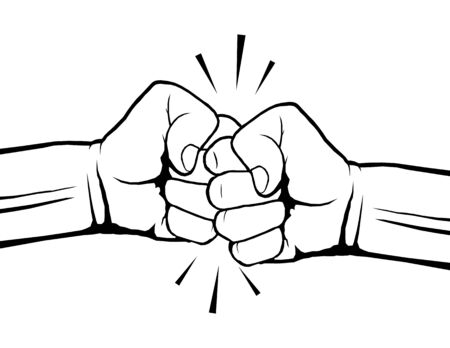 Hand drawn of two fists bumping together. Teamwork, partnership, friendship, passion or conflict, confrontation, resistance, competition, struggle. Vector illustration