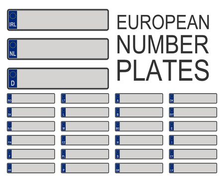 European car number plates set with EU symbol isolated on white background. Vector illustration