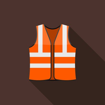 Safety vests icon on brown background with long shadow. Safety clothing with reflective stripes. Icon of safe uniform for workers. Vector illustration