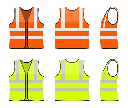 Set of orange and yellow safety vests isolated on white background. Safety clothing with reflective stripes. Front, back and side view. Icon of safe uniform for workers. Vector illustration 向量圖像