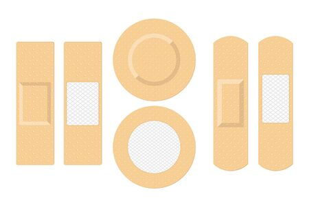 Adhesive bandage elastic medical plasters set in different shapes isolated on white background. Vector illustration