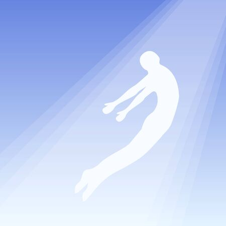 The soul flies to heaven, ghost of a man taken up into heaven. Soul ascension in heavenly light, Consciousness and body human faith and person. Afterlife, meditation and dream vector concept Illustration