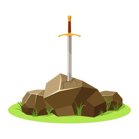 Sword in stone isolated on white background. King Arthurs sword, legendary Excalibur. Medieval weapons and rock. Metaphor for goals, dedication or determination. Vector illustration Ilustrace