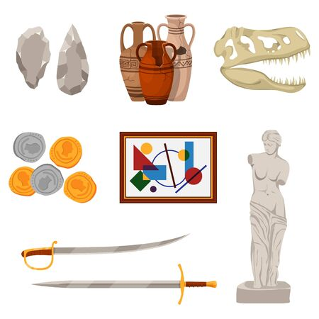 Museum set exhibit pod and tools icons of various historical periods: Stone tools, ancient amphora, dinosaur skull, old coins, picture, swords and statue. Excursion exposition museum, Vector Çizim