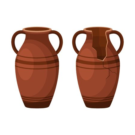 Whole and broken ancient amphora icon with two handles. Antique clay vase jar, Old traditional vintage pot. Ceramic jug archaeological artefact. Greek or Roman vessel pottery for wine or oil. Vector