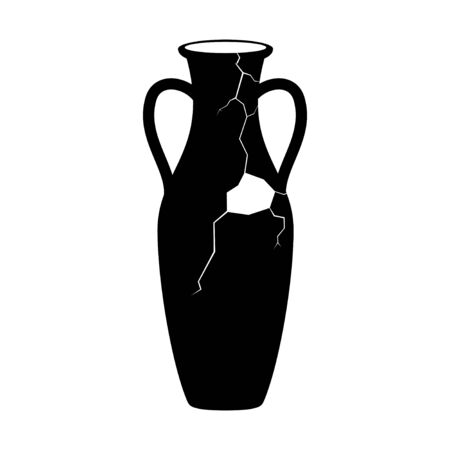 Broken ancient amphora icon with two handles. Antique clay vase jar, Old traditional vintage pot. Ceramic jug archaeological artefact. Greek or Roman vessel pottery for wine or oil. Vector