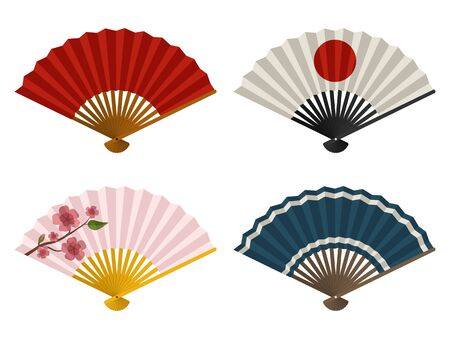 Hand fans set isolated on white background, Japanese and Chinese folding fan, Traditional Asian paper geisha fan. Vector illustration