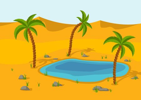 Oasis, Lake and palms in the desert. Sand dunes desert landscape. Beautiful nature scenery. Vector illustration