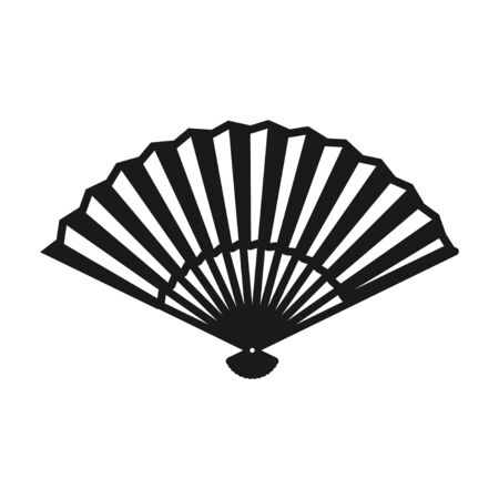 Hand fan icon isolated on white background, Japanese and Chinese folding fan, Traditional Asian paper geisha fan. Vector illustration