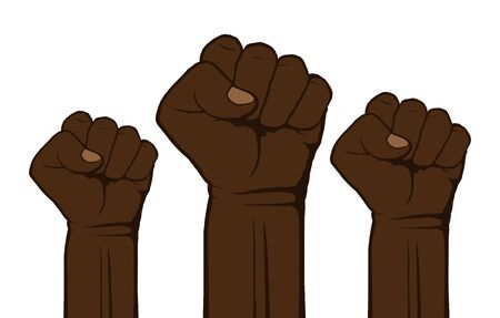 Black lives matter, poster with fists for protest, rally or awareness campaign against racial discrimination of dark skin color. Against Police Brutality. Support for equal rights of black people.