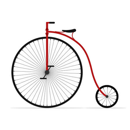 Old bicycle isolated on white background, Retro Penny farthing bike. High wheel vintage bicycle, Vector illustartion