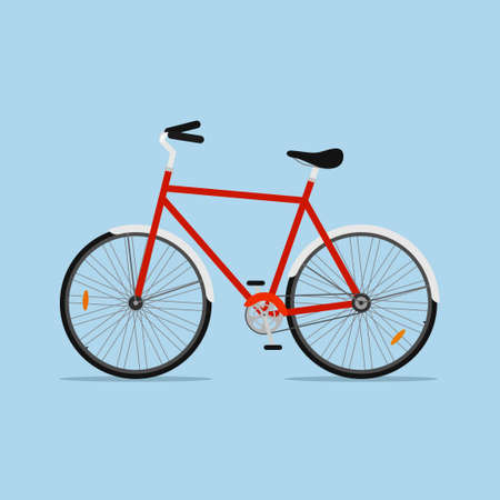 City bicycle isolated on blue background, ecological sport transport bike. Vector illustration
