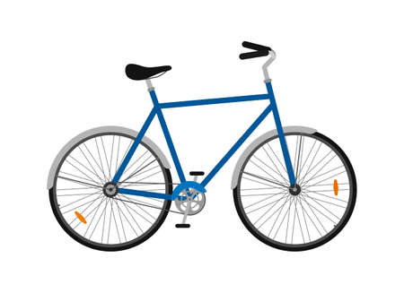 City bicycle isolated on white background, ecological sport transport bike. Vector illustration Illustration