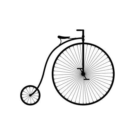 Old bicycle icon isolated on white background, Retro Penny farthing bike. High wheel vintage bicycle, Vector illustartion Illustration