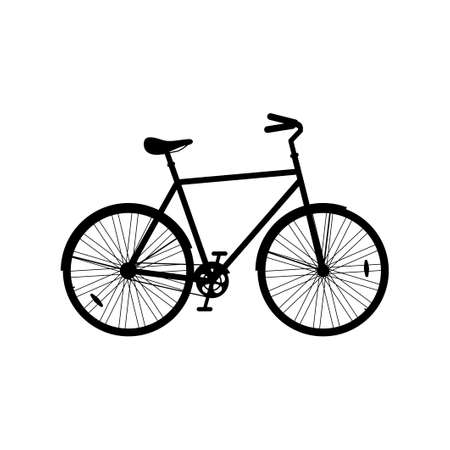 City bicycle icon isolated on white background, silhouette ecological sport transport bike. Vector illustration