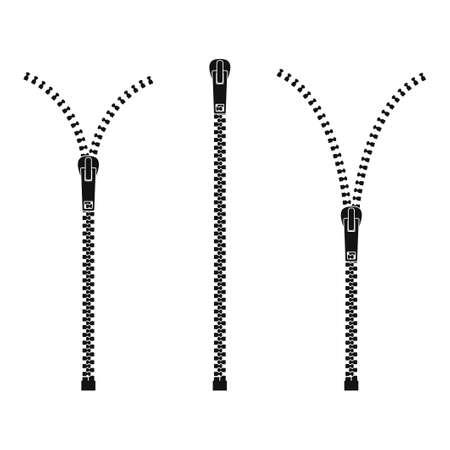 Zipper isolated on white background, Clothes zips, split cloth pulling zip, open or unzipped and close or zipper metal zip set. Vector illustration Vektoros illusztráció