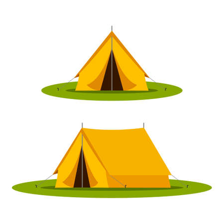Yellow camping tourist tent in outdoor travel on white background. Vector illustration for nature tourism, journey, adventure.