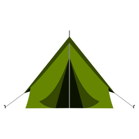 Green camping tourist tent in outdoor travel in flat style on white background. Vector illustration for nature tourism, journey, adventure. Illustration