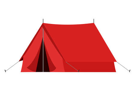 Red camping tourist tent in outdoor travel in flat style on white background. Vector illustration for nature tourism, journey, adventure. Illustration