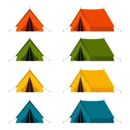 Camping tourist tent set in outdoor travel in in different colors on white background. Vector illustration for nature tourism, journey, adventure. Illustration