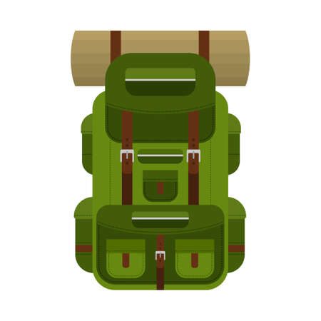 Camping backpack for hiking, travel and tourism isolated on white background. Backpack for camp gears, mats, sleeping bags and etc. Vector illustration
