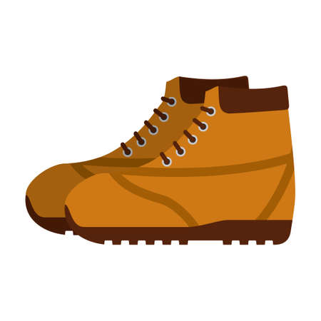 Brown hiking shoes or army military boots isolated on white background. Mountain footwear Vector illustration