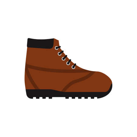 Brown hiking shoe or army military boot icon isolated on white background. Mountain footwear in flat style. Vector illustration Illustration