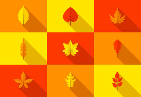 Set of colorful autumn leaves icons with long shadow. Fallen autumn leaves collection in flat style. Vector illustration