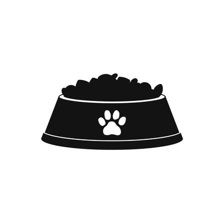 Dog or cat dry food bowl icon. Black pet bowl with dry food crisps. Flat style vector illustration isolated on white background