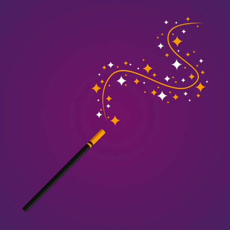 Magic Wand stick with stars on purple background. Sorcerer equipment, wizard accessory. Enchantment, spell, sorcery attribute. Vector illustration Illustration