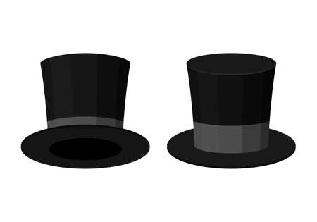 Black Top Hat isolated on white background. Cylinder gentleman hat, broad-brimmed magic hat with grey ribbon. Stylish men accessory. Vector illustration