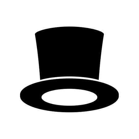 Black Top Hat icon isolated on white background. Cylinder gentleman hat, broad-brimmed magic hat. Stylish men accessory icon. Vector illustration