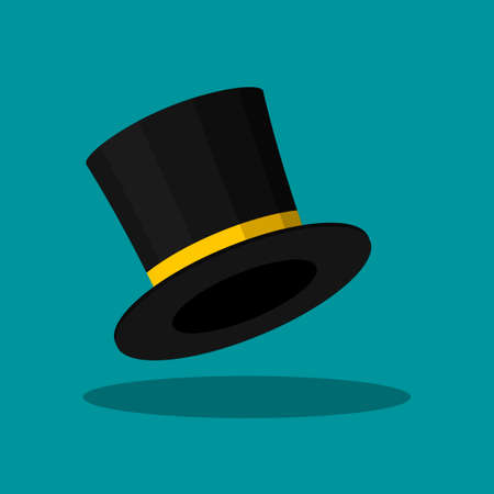 Black Top Hat isolated on blue background. Cylinder gentleman hat, broad-brimmed magic hat with yellow ribbon. Stylish men accessory. Vector illustration