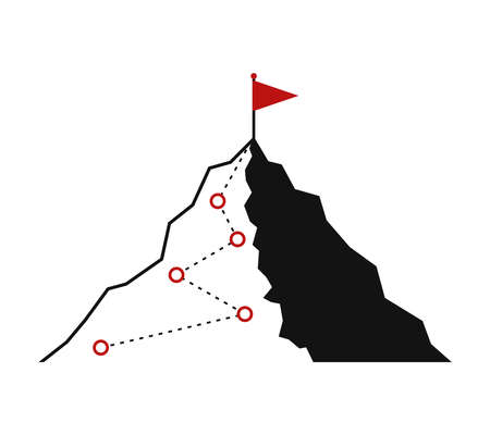 Mountain climbing route to peak icon. Hiking trip to the top of the mountain journey path. Route challenge infographic career top goal growth plan journey to success. Business climbing vector concept